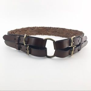 OLD NAVY Brown Braided Double Loop Belt Size S/M
